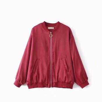 Дамско яке с дълъг ръкав и цип в два цвята