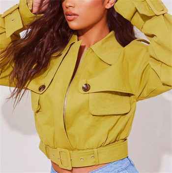 Есенно дамско яке къс модел с колан в жълт цвят