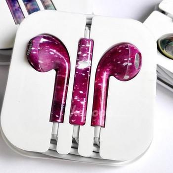 Аудио слушалки тип Earpods в розов цвят с микрофон