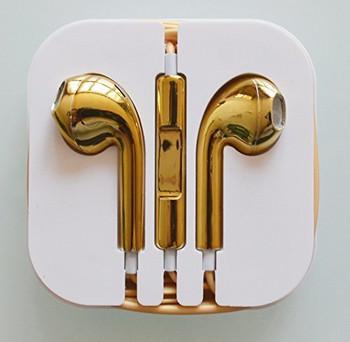 Аудио слушалки тип Earpods - златист цвят