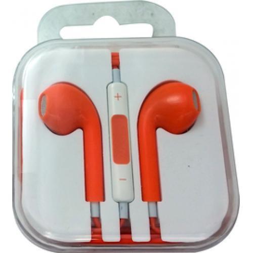 Аудио слушалки  тип Earpods с микрофон в оранжев цвят