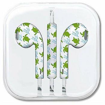 Аудио слушалки тип Earpods с микрофон в бял цвят с шарка