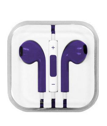 Аудио слушалки тип Earpods с микрофон в лилав цвят