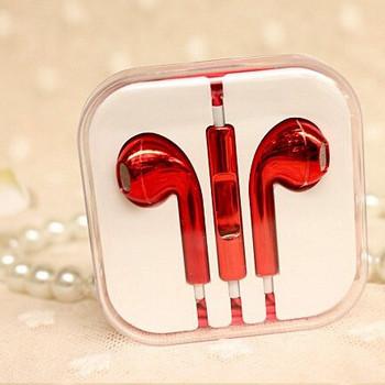 Аудио слушалки тип Earpods в червен цвят