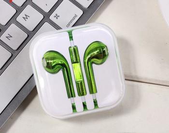 Аудио слушалки тип Earpods с микрофон в зелен цвят
