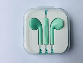 Стерео слушалки тип Earpods с микрофон в зелен цвят
