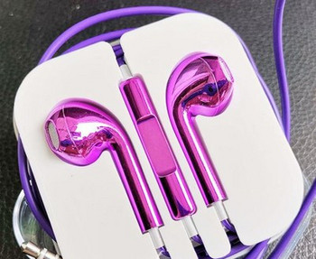 Аудио слушалки тип Earpods с микрофон в цикламен цвят