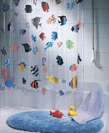 Прозрачна водоустойчива душ завеса за баня с риби
