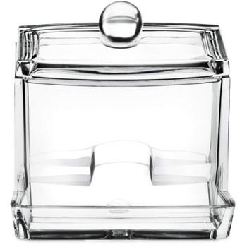 Акрилна кутия подходяща за съхранение на клечки за уши и малки принадлежности за баня