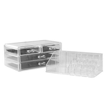 Прозрачен органайзер за гримове и бижута с 20 отделния и 4 чекмеджета - 14х13.5х19 см