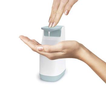 Компактен дозатор за сапун подходящ за баня и кухня в бял цвят със синьо