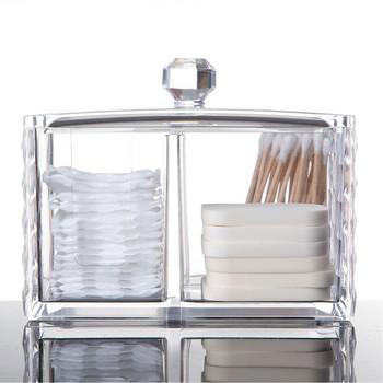 Акрилен органайзер за съхранение на козметични принадлежности - кутия за съхранение на клечки за уши и памучни тампони