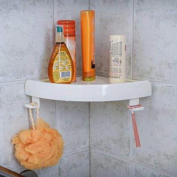 Пластмасов ъглов рафт самозалепващ се на всякакви повърхности в бял цвят -ъглова етажерка за баня - 23х23 см