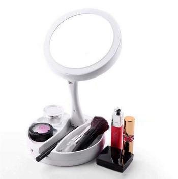 Сгъваем модел LED огледало с вградена лампа в бял цвят