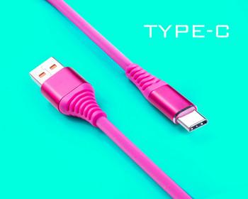 Розов силиконов USB кабел Type-C