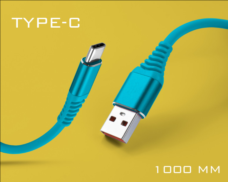 Син силиконов USB кабел Type-C