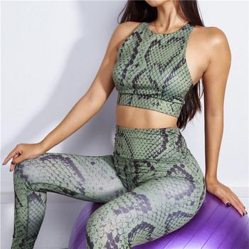 Спортен дамски комплект с змийски десен в зелен цвят