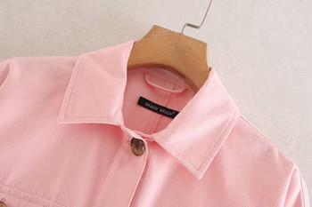 Дамско късо яке в три цвята с връзки