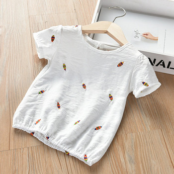 Ежедневна детска тениска за момичета с къс ръкав в бял цвят
