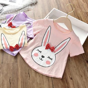 Ежедневна детска тениска за момичета с апликация и панделка в няколко цвята