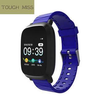 Водоустойчив тъчскрийн смарт часовник измерващ крачките със силиконова каишка M30 в син цвят