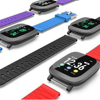 Водоустойчив тъчскрийн смарт часовник измерващ крачките със силиконова каишка M30 в лилав цвят