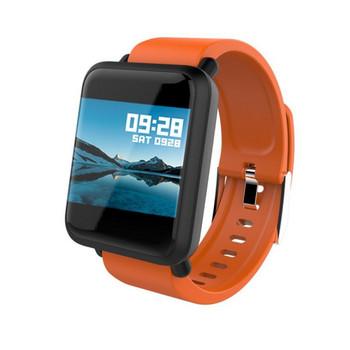 Водоустойчива фитнес гривна модел М28 измерваща сърдечният ритъм с 1.3 инча цветен дисплей - силиконова  каишка в оранжев цвят
