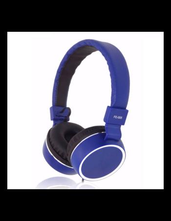 Stereo слушалки модел FE-005 с микрофон в син цвят - дължина на кабел 1.3 m