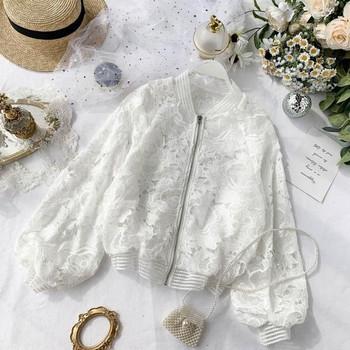 Γυναικείο μπουφάν  δαντέλας για το  φθινόπωρο με φαρδιά μανίκια σε μαύρο και άσπρο χρώμα