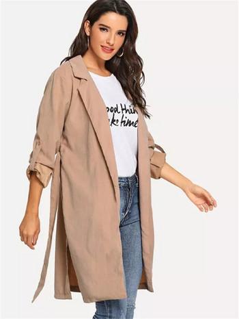 Γυναικείο μπουφάν για το φθινόπωρο  με δεσμούς σε ροζ χρώμα