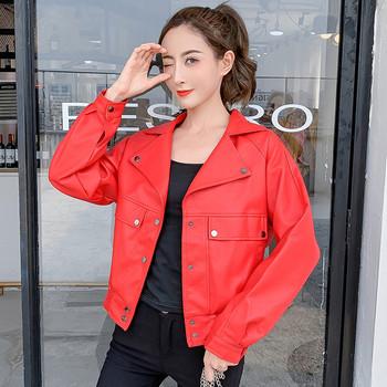 Μοντέρνο γυναικείο μπουφάν σε δύο χρώματα - κόκκινο και μαύρο