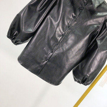 Γυναικείο ανοιξιάτικο μπουφάν από έκο δέρμα  με 3/4 μανίκια