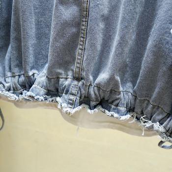 Casual γυναικείο τζιν μπουφάν ευρύ μοτίβο με δεσμούς σε μπλε χρώμα