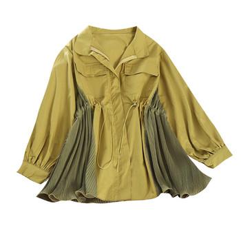 Γυναικείο φθινοπρινό μπουφάν με κορδόνια στη μέση σε τέσσερα χρώματα
