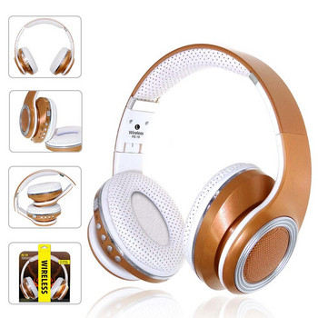 Bluetooth  слушалки с микрофон модел FE-19 и FM радио, MicroSD слот - бял цвят