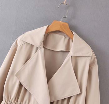 Παλτό για την  άνοιξη και το φθινόπωρο με γκορδόνια στη μέση και τσέπες