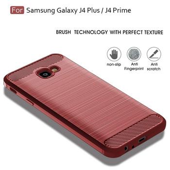 Силиконов гръб за Samsung Galaxy J4 Plus - карбонов дизайн в червен цвят
