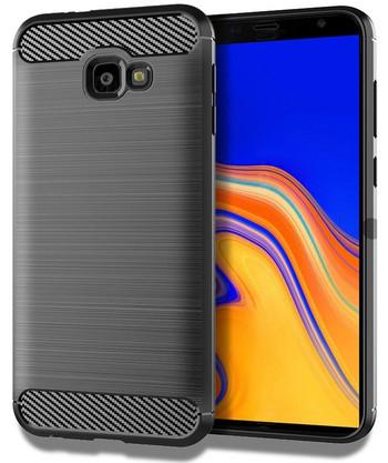 Силиконов гръб за Samsung Galaxy J4 Plus - карбонов дизайн в сив цвят