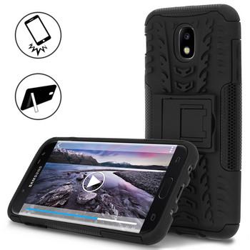 Удароустойчив силиконов калъф за Samsung Galaxy J5 2017  със стойка за телефон ,Черен