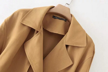 Стилно дамско палто с колан в кафяв цвят