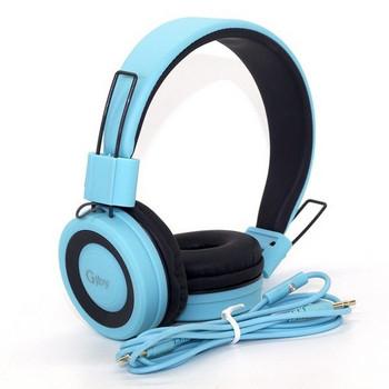 Стерео слушалки с вграден микрофон модел GjBY GJ-14 AUDIO EXTRA BASS , съвместими с Android/iOS - син цвят