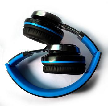 Безжични bluetooth слушалки модел CHS01 с микрофон и слот за карта памет ,FM радио - син цвят