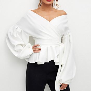 Κομψή γυναικεία μπλούζα σε τρία χρώματα με φαρδιά μανίκια