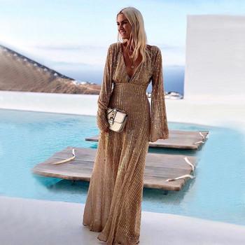 Модерна дамска дълга рокля с дълбоко деколте в златист цвят