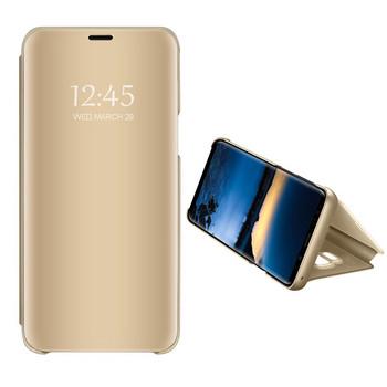 Огледален калъф модел Flip за телефон Xiaomi Redmi Note 4 в златист цвят