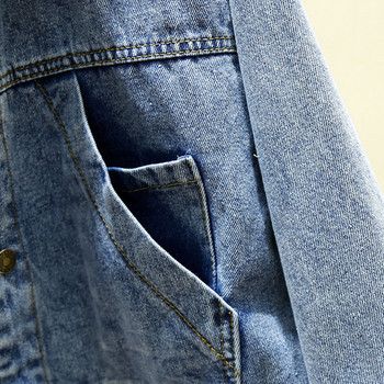Casual γυναικείο denim μπουφάν  ευρύ μοτίβο με τσέπες σε μπλε χρώμα