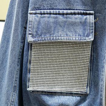 Κομψό γυναικείο μπουφάν με φερμουάρ και τσέπες σε μπλε χρώμα