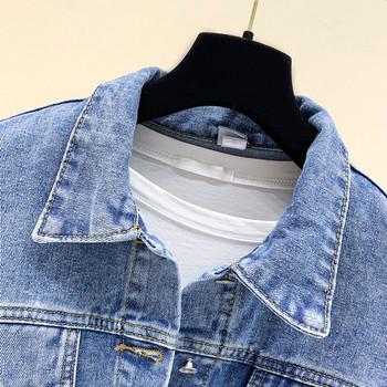 Γυναικείο τζιν μπουφάν - σύντομο μοντέλο σε μπλε χρώμα