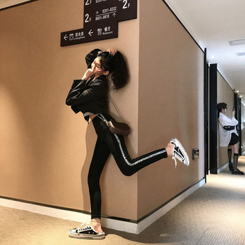 Спортен дамски клин с висока талия и надписи в черен и сив цвят