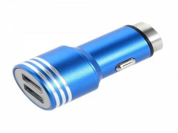 Зарядно за автомобил с два USB порта, подходящо за зареждане на телефони, таблети, MP3 плеъри, GPS и др.  -син цвят